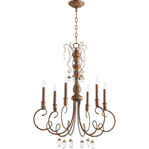 Venice Vintage Copper 28-Inch Six-Light Chandelier with Curved Arms