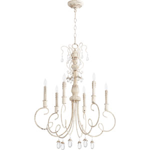 Venice Persian White 28-Inch Six-Light Chandelier with Curved Arms