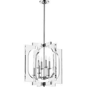 Broadway Polished Nickel Eight-Light 21-Inch Pendant