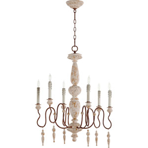 La Maison Manchester Grey with Rust Accents Six-Light 26-Inch Chandelier