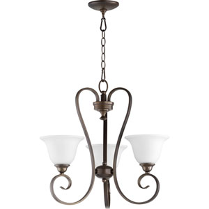 Celesta Oiled Bronze with Satin Opal Glass Three-Light Chandelier