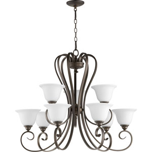 Celesta Oiled Bronze with Satin Opal Glass Nine-Light Chandelier