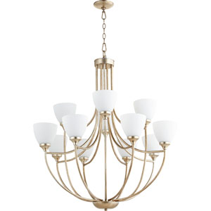 Enclave Aged Silver Leaf Twelve-Light 35-Inch Chandelier