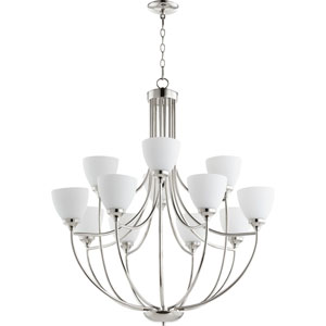 Enclave Polished Nickel Twelve-Light 35-Inch Chandelier