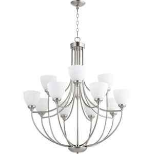 Enclave Satin Nickel Twelve-Light 35-Inch Chandelier