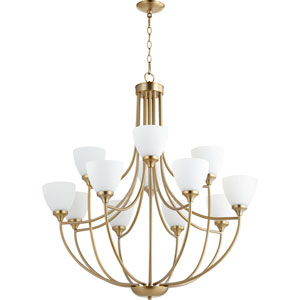 Enclave Aged Brass Twelve-Light 35-Inch Chandelier