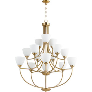 Enclave Aged Brass Fifteen-Light 39-Inch Chandelier