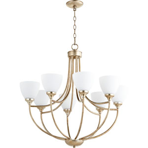 Enclave Aged Silver Leaf Eight-Light 30-Inch Chandelier