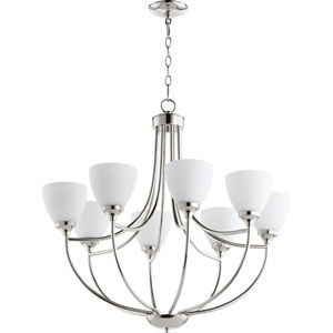 Enclave Polished Nickel Eight-Light 30-Inch Chandelier