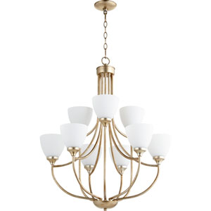 Enclave Aged Silver Leaf Nine-Light 27-Inch Chandelier