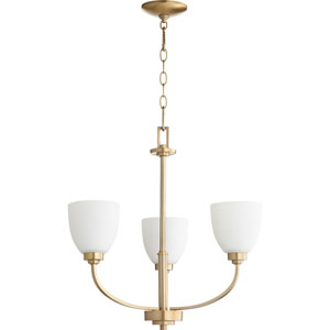 Reyes Aged Brass Three-Light 22-Inch Chandelier