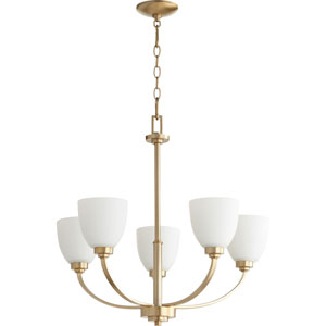 Reyes Aged Brass Five-Light 26-Inch Chandelier