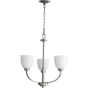 Reyes Classic Nickel Three Light Chandelier with Satin Opal Glass