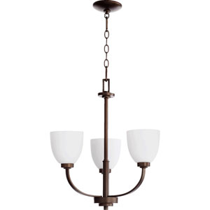 Reyes Oiled Bronze Three Light Chandelier with Satin Opal Glass