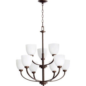 Reyes Oiled Bronze 30.5-Inch Nine Light Chandelier with Satin Opal Glass