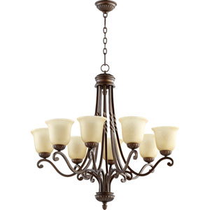 Tribeca Ii Oiled Bronze 34-Inch Eight Light Chandelier with Amber Scavo Glass