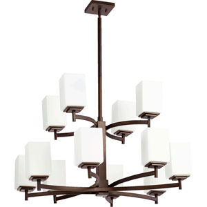 Delta Oiled Bronze Twelve-Light Chandelier with Satin Opal Glass