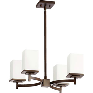 Delta Oiled Bronze Four-Light Chandelier with Satin Opal Glass