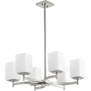 Delta Satin Nickel Six-Light Chandelier with Satin Opal Glass