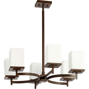 Delta Oiled Bronze Six-Light Chandelier with Satin Opal Glass