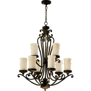 Alameda Nine-Light Oiled Bronze with Antique Gold Chandelier