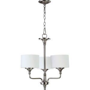 Rockwood Satin Nickel Three-Light Chandelier with Satin Opal Glass