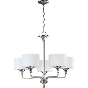 Rockwood Satin Nickel Five-Light Chandelier with Satin Opal Glass