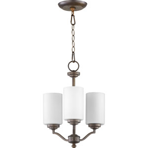 Atwood Oiled Bronze with Satin Opal Glass Three-Light Chandelier