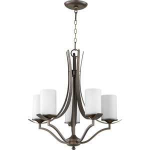 Atwood Oiled Bronze with Satin Opal Glass Five-Light Chandelier