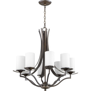 Atwood Oiled Bronze with Satin Opal Glass Eight-Light Chandelier