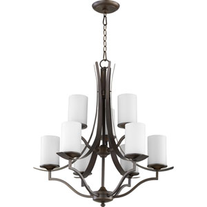 Atwood Oiled Bronze with Satin Opal Glass Nine-Light Chandelier