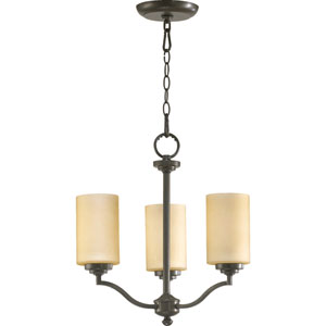 Atwood Three-Light Oiled Bronze with Antique Gold Chandelier