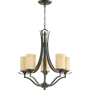 Atwood Five-Light Oiled Bronze with Antique Gold Chandelier