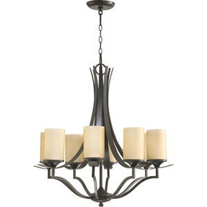 Atwood Eight-Light Oiled Bronze with Antique Gold Chandelier