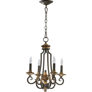 Capella Four-Light Toasted Sienna with Golden Fawn Chandelier