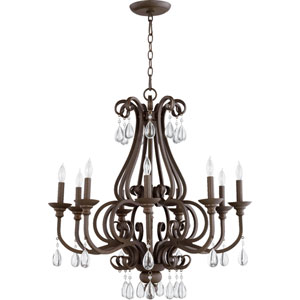 Anders Oiled Bronze 30-Inch Nine-Light Chandelier