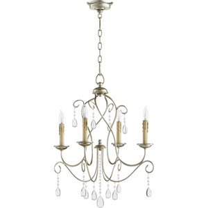 Cilia Aged Silver Leaf 22-Inch Four-Light Chandelier