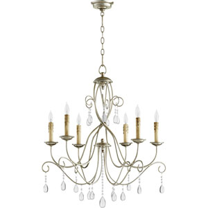 Cilia Aged Silver Leaf Six-Light Chandelier