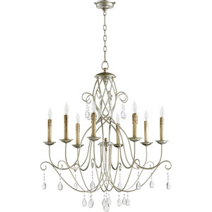Cilia Aged Silver Leaf 32-Inch Eight-Light Chandelier