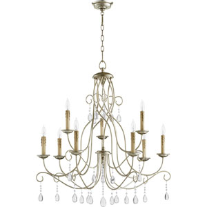 Cilia Aged Silver Leaf Nine-Light Chandelier