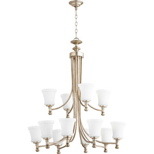 Rossington Aged Silver Leaf Twelve-Light 35-Inch Chandelier