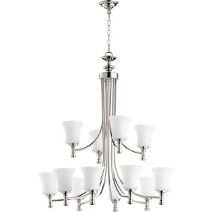 Rossington Polished Nickel Twelve-Light 35-Inch Chandelier
