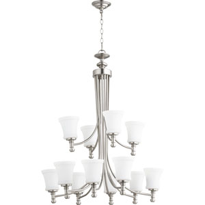 Rossington Satin Nickel Twelve-Light 35-Inch Chandelier