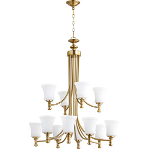 Rossington Aged Brass Twelve-Light 35-Inch Chandelier