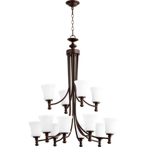 Rossington Oiled Bronze Twelve-Light 35-Inch Chandelier