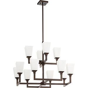 Wright Oiled Bronze 12-Light 17.25-Inch Chandelier