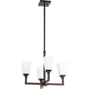 Wright Oiled Bronze Four-Light 20.25-Inch Chandelier
