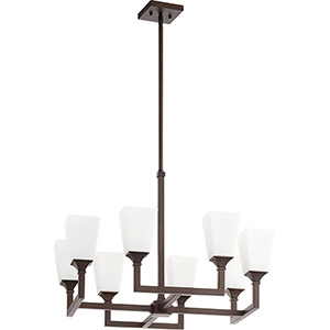 Wright Oiled Bronze Eight-Light 14-Inch Chandelier