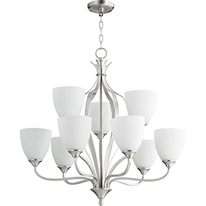 Jardin Satin Nickel Nine-Light 30-Inch Chandelier