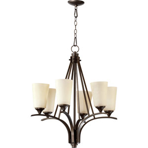 Winslet Ii Oiled Bronze Six Light Chandelier with Linen Shade